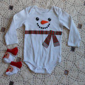 5/$10 Snowman Bodysuit with Santa Ankle Socks 24mo